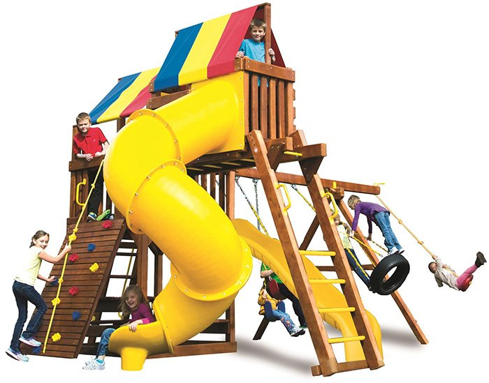 Rainbow Playsets can be found in our Indoor Amusement Center. Find the best brands in backyard fun.